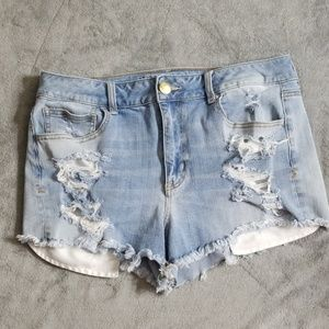 AMERICAN EAGLE HI RISE SHORTIE JEAN SHORTS NEW